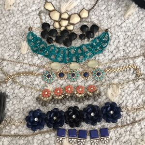 Bundle of chunky colorful necklaces